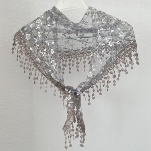 Lace Crochet Embroidery Scarf Hair Tie Grey